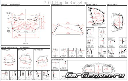 Кузовные размеры Honda Ridgeline 2006-2014 Body Repair Manual