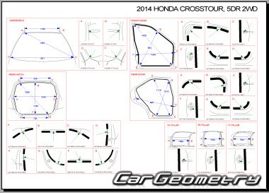Кузовные размеры Honda Accord Crosstour (TF) 2010-2016 Body Repair Manual