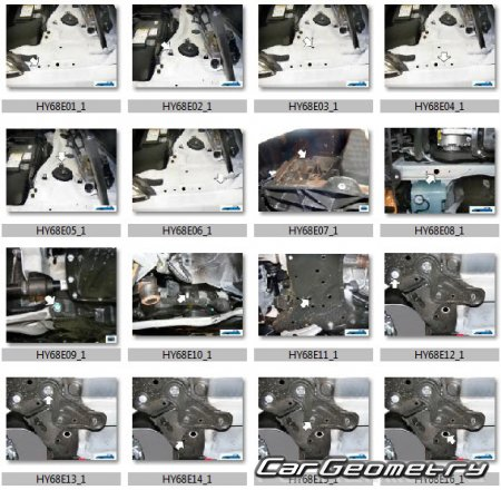 Кузовные размеры Hyundai i40 (VF) Sedan 2012-2017 Body Repair Manual