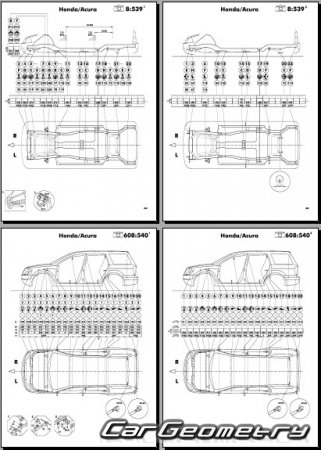 Размеры кузова Honda Pilot 2003-2008 Body Repair Manual