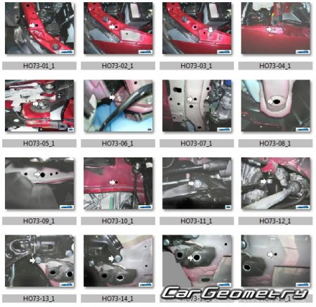 Размеры кузова Honda Insight (ZE2) 2010–2014 Body Repair Manual