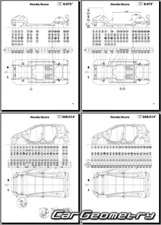 Кузовные размеры Honda Fit (Honda Jazz) 2002-2008 Body Repair Manual