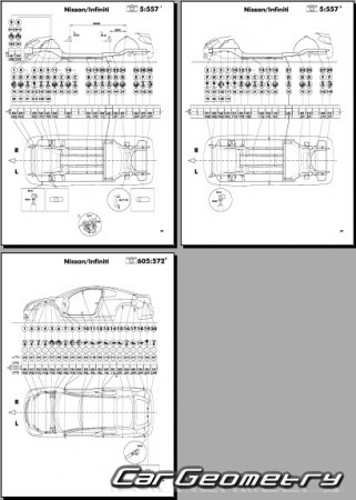 Кузовные размеры Nissan Altima (L32) 2006-2012 (Sedan, Coupe, Hybrid) Body Repair Manual