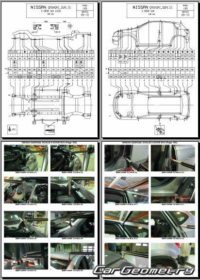 Размеры кузова Nissan Qashqai (J10) 2007-2013 Body Repair Manual