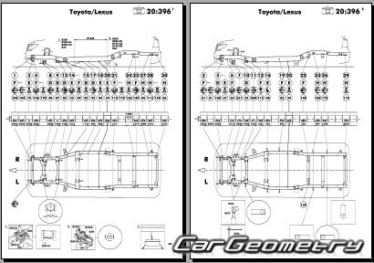 Размеры кузова Toyota Land Cruiser 200 2008–2015 Collision shop manual