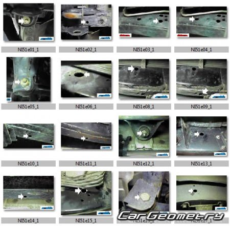 Размеры кузова Nissan Patrol (Y61) 1997-2010 Body Repair Manual