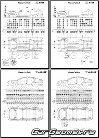 Размеры кузова Nissan Teana (J31) 2003–2008 Body Repair Manual