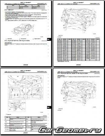 Кузовные размеры Nissan Qashqai (J11) 2014-2020 Body Repair Manual