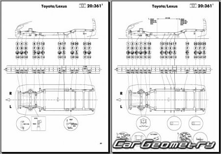 Кузовные размеры Toyota Innova 2008–2012 (TGN40) Collision shop manual