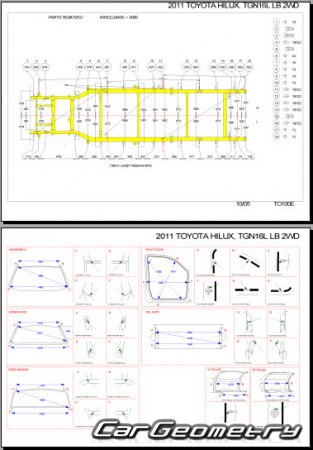Размеры кузова Toyota Hilux 2005–2011 (Single, Double, Extra Cab) Collision shop manual