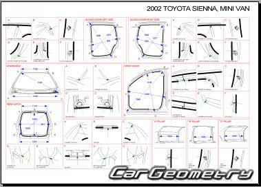 Размеры кузова Toyota Sienna 1997-2003 (MCL10) Collision Repair Manual