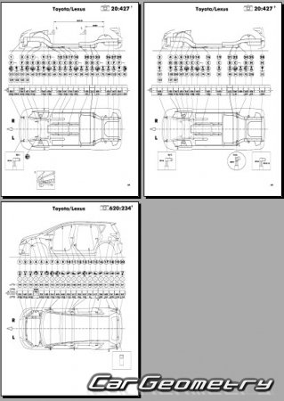 Кузовные размеры Toyota Verso 2009–2014 (ZGR20,21 AUR20,21) Collision Repair Manual