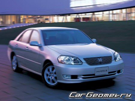 Размеры кузова Toyota Mark II 2WD/4WD 2000–2004 Body dimensions