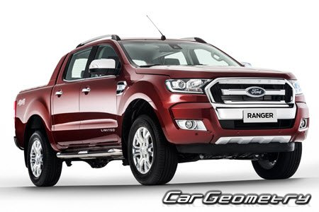 Размеры кузова Ford Ranger 2015-2019 Body Repair Manual