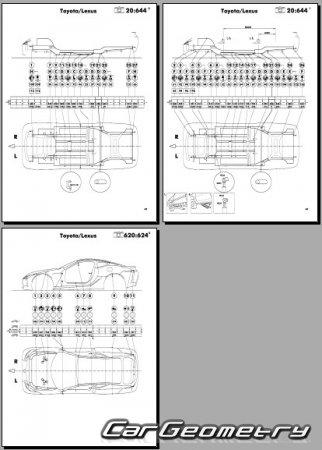 Геометрия кузова Lexus LC500 (URZ100) 2017-2024 Collision Repair Manual