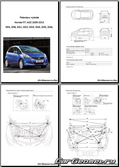 Honda Jazz Ge Gg 2009 2014 Body Dimension
