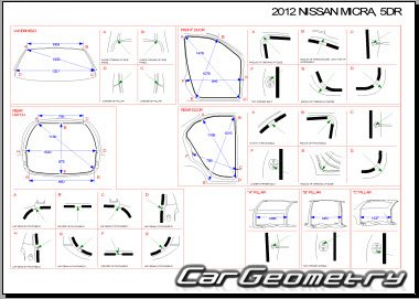 Кузовные размеры Nissan Micra (March) K13 2011-2018  Body dimensions