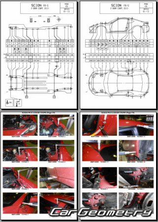 Кузовные размеры Scion FR-S 2013-2015 Collision Repair Manual