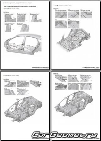 Размеры кузова Honda Civic Sedan (FC1, FC2) 2016-2022 Body Repair Manual