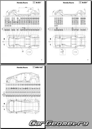 Кузовные размеры Honda Civic (FK) 2017-2023 (5DR Hatchback) Body Repair Manual