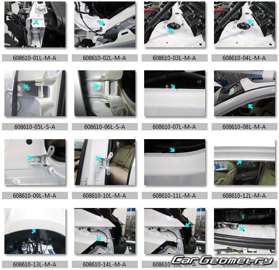 Размеры кузова Acura RDX 2018-2023 Body Repair Manual
