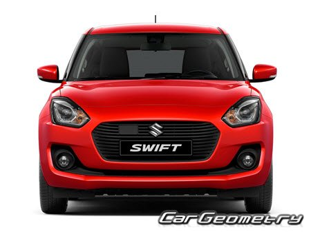 Кузовные размеры Suzuki Swift (A2L) 2017-2021 (5DR Hatchback), Размеры кузова Сузуки Свифт с 2017