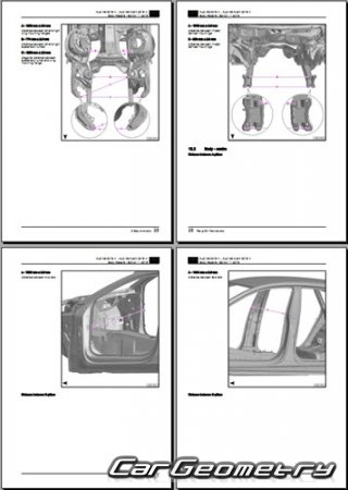 Размеры кузова Audi A6 (4H,C8) 2018-2025 Body Repair Manuals